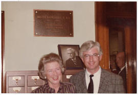 Judith Baumgarten and Robert R. MacDonald at a St. Louis Medical Society reception honoring the B...