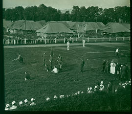 View of personnel playing baseball on the athletic field, Base Hospital 21, Rouen, France.