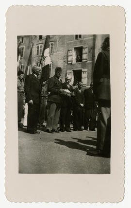 "Col. Lee D. Cady addressing the people of Mirecourt at a ceremony commemorating DeGaulle's ""..."