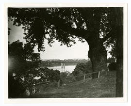 View of Missouri River and Bellefontaine Bridge as seen from the backyard at the home of Vilray P...