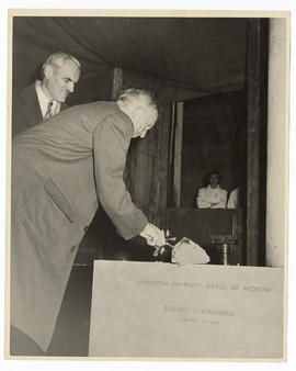 Arthur H. Compton and Harry Brookings Wallace laying the Cancer Research Building cornerstone, Wa...
