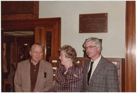 James Otto Lottes, Judith Baumgarten, and Robert R. MacDonald at a St. Louis Medical Society rece...