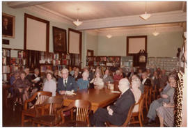 View of a seated audience at a St. Louis Medical Society reception honoring the Baumgarten family.