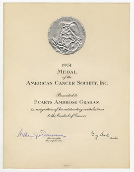 American Cancer Society Award certificate.