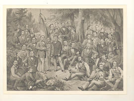 Reproduction of painting or drawing of 36 German fraternity brothers gathered around a flag, wear...
