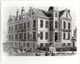 Drawing of St. Louis Children's Hospital, Jefferson and Adams Street.