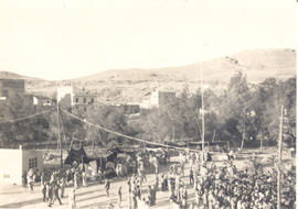 Bird's-eye view of a Red Cross Carnival for Bastille Day, Bou Hanifia, Algeria.