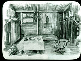 Sketch of the Base Hospital 21 officers' quarters interior by Arthur Proetz.