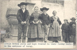 Breton girls and boys dressed in their Sunday best, Auray, France.