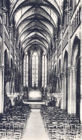 Interior view of the nave, Basilica of Notre Dame, Bonsecours, France.