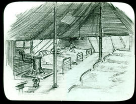 Sketch of patients in a tent ward by Arthur Proetz.