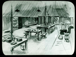 Sketch of the Base Hospital 21 laboratory interior by Arthur Proetz.