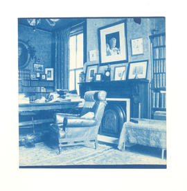 Dr. Gustav Baumgarten's library, showing armchair, worktable, and fireplace. Chestnut Street, St....