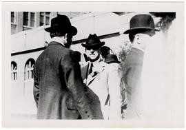 Two unidentified men at the garden party reception after the dedication ceremony for Washington U...