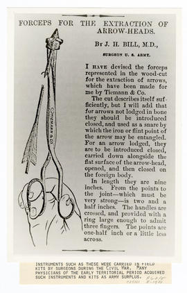 Advertisement for forceps for the extraction of arrowheads written by J.H. Bill, M.D., Surgeon U....