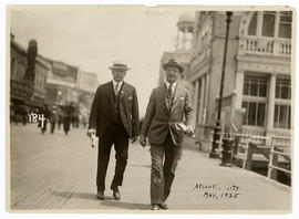 Evarts A. Graham (right) and an unidentified man walking in Atlantic City, New Jersey.