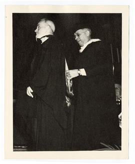 Charles B. Huggins receiving an honorary medical degree on the 50th anniversary of Washington Uni...