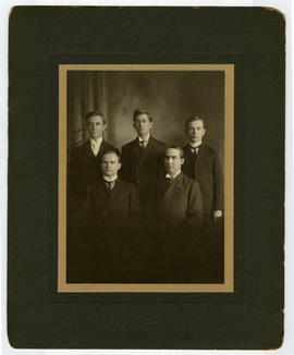 Group portrait of James W. Wells with four Barnes Medical College classmates.