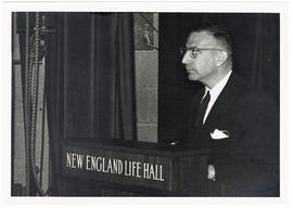Robert J. Glaser standing at a podium at a Boston City Hospital Centennial and Thorndike Memorial...