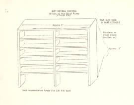 Diagram of a ward kitchen tray rack, 21st General Hospital, Ravenel Hospital Hospital, Mirecourt,...