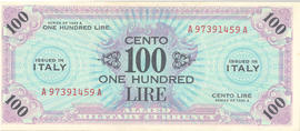 Allied Military Currency, 100 Italian lire note.