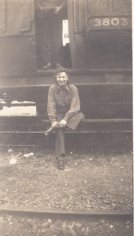 1st. Lt. Irene P. Steplyk visiting a 40 & 8 car, Mirecourt, France.