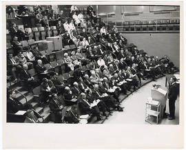 View of Sam Aspen addressing the audience at a Boston City Hospital Centennial and Thorndike Memo...