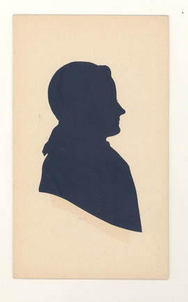 Silhouette of Alma Baumgarten, daughter of Gustav and Aminda Baumgarten.
