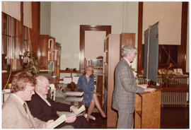 Robert R. MacDonald giving an address at a St. Louis Medical Society reception honoring the Baumg...