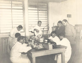 Men and women at work in the Dental Lab, 21st General Hospital, Ravenel Hospital Hospital, Mireco...