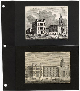 Drawing of St. Louis University and Church of St. Francis Xavier.