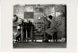 A.J. 'Bill' Derbyshire and Hallowell Davis with an early EEG machine, Harvard Medical School Depa...