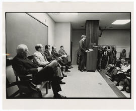 Joseph Balser, assistant to Mayor James Conway, addressing the audience at the West Pavilion dedi...