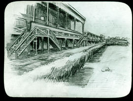 Sketch of the grandstands, Base Hospital 21 by Arthur Proetz.