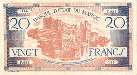 Morroccan currency, 20 franc note.