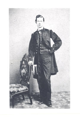 Full length portrait of Gustav Baumgarten as a young man dressed in formal attire, ca. 1859.