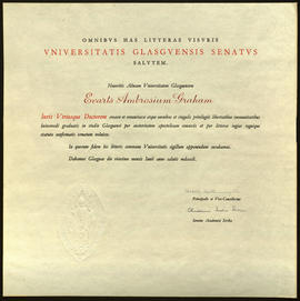 Honorary Doctor of Laws degree certificate, University of Glasgow