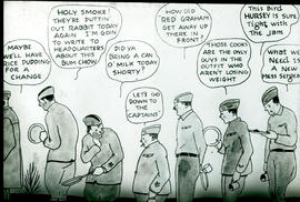 Chow line griping cartoon.
