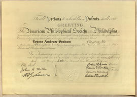 Membership certificate to the American Philosophical Society.